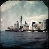 Instagram filtered style image of lower Manhattan New York City