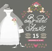 foto of bridal veil  - Bridal shower card with floral border - JPG