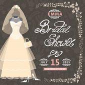 Bridal Shower invitation.Vintage wedding dress,floral pattern