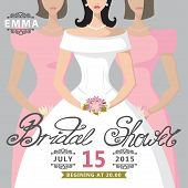 Bridal Shower invitation.Illustration of a bride and two bridesm