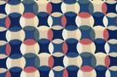 Geometric Retro Pattern Textile With Circles In 70S Style.