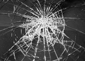 Broken Glass In Car. Abstract Black-and-white Background