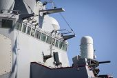 STATEN ISLAND, NY - MAY 25, 2014: The windows of the bridge on the guided-missile destroyer USS McFa