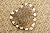 Wooden Heart with White Edge On Hessian
