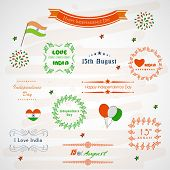Sticker, tag, label and badge set for Indian Independence Day celebrations.