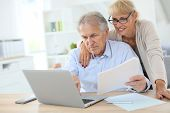 Senior couple doing the income tax declaration online