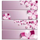 Set Of Horizontal Banners Purple With Blossoming Sakura