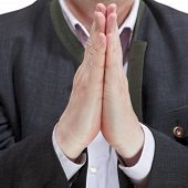Front View Of Male Praying Hands - Hand Gesture