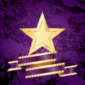 vector golden bulb star with blank purple bulb banner on grunge background