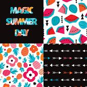 Seamless exotic summer pattern set and typography cover design pineapple and water melon illustration in vector