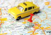 image of vicenza  - Close up of Vicenza Italy map with red pin and a taxi - Travel concept