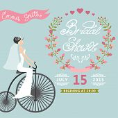 Bridal Shower.Vintage Wedding invitation with floral wreath,retr