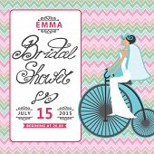 Bridal Shower  invitation with bride on retro bicycle