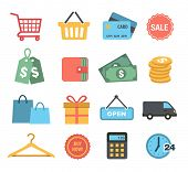 Collection of Shopping Icons in Flat Design Style