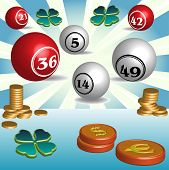 pic of lottery winners  - Colorful illustration with golden coins - JPG