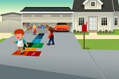 foto of hopscotch  - A vector illustration of kids playing hopscotch on the driveway of a suburban house - JPG