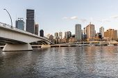 Brisbane cityscape and Victoria bridge over the Brisbane river