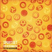 Vector sports seamless background. Sports equipment colored pattern.