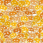 Halloween seamless pattern with yellow and orange pumpkins