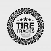 Tire tracks. Illustration on grey background