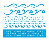 Seamless vector blue wave line pattern