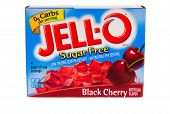 Hayward, CA - July 24, 2014: Jello brand gelatin in Black Cherry flavor