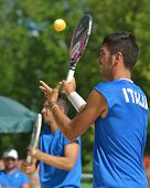 MOSCOW, RUSSIA - JULY 18, 2014: Men double of Italy in the match against France during ITF Beach Ten