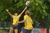 MOSCOW, RUSSIA - JULY 18, 2014: Mixed double of Brazil in the match against Cyprus during ITF Beach