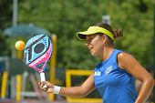 MOSCOW, RUSSIA - JULY 18, 2014: Patricia Diaz of Venezuela in the match against Estonia during ITF Beach Tennis World Team Championship. Venezuela won 3-0