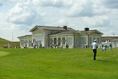 TSELEEVO, MOSCOW REGION, RUSSIA - JULY 24, 2014: Building of the Tseleevo Golf & Polo Club during the M2M Russian Open. This international golf tournament is the stage of the European Tour