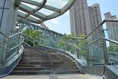 City footbridge staircase