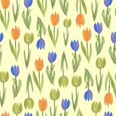 Seamless background of watercolor tulip flowers. Vector illustration.