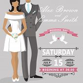 Cute cartoon bride and groom. Wedding invitation