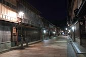 stock photo of geisha  - Higashiyama geisha district by night. Higashiyama is a geisha district in Kanazawa and preserve traditional Japanese houses.