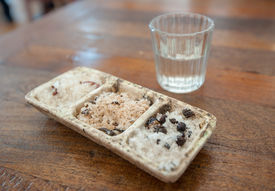 stock photo of mezcal  - Shot of mezcal and sal de gusano Traditional mexican drink Oaxaca Mexico - JPG