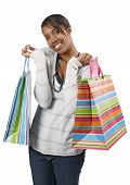 Happy Shopper With Colorful Bags