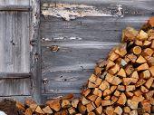 Fire wood on wood wall