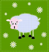 foto of budge  - green floral background and an abstract lamb - JPG