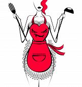 picture of pinner  - abstract woman in the red apron with scoop and fork - JPG