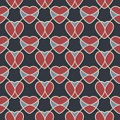 Abstract Geometric Seamless Pattern With Hearts