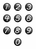Set Black Buttons With Numbers