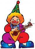 Clown with balalaika.
