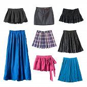 stock photo of mini-skirt  - Group of various skirts on white background - JPG