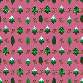 image of christmas theme  - Christmas theme pine tree and reindeer in pink background seamless pattern - JPG