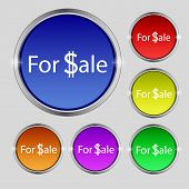 For Sale Sign Icon. Real Estate Selling. Set Of Colored Buttons. Vector