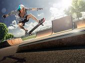 image of skate board  - The old man is skating on skateboard in skate park - JPG
