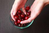Fresh Cherries In Hands On Table