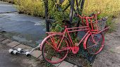 Old red bicycle leaning against a frame