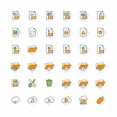 Files And Folders Flat Design Icon Set. File Type, Folders, Cloud Computing, Save, Cut, Delete