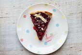 Piece Of Cherry Pie On Plate